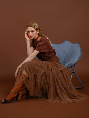 pink katiacho CORDUROY TULLE LONG SKIRT CHOCO BROWN