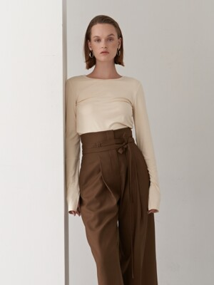 19FW ROUND NECK JERSEY TOP BEIGE
