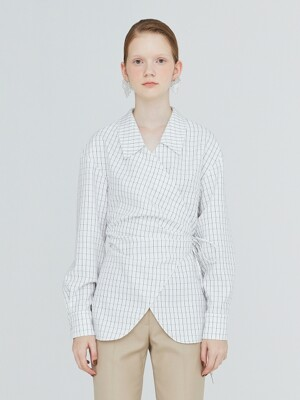 19FW CHELSEA COLLAR GINGHAM WRAP BLOUSE - WHITE GINGHAM CHECK