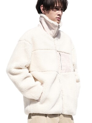 Boa Fleece Zip-Up Jacket Ivory