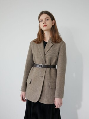 19' WINTER_COCOA BEIGE BASIC SINGLE JACKET