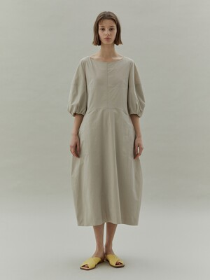 20SS VOLUME SLEEVE DRESS - BEIGE