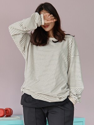 [UNISEX] STRIPE LONG SLEEVE T_IVORY