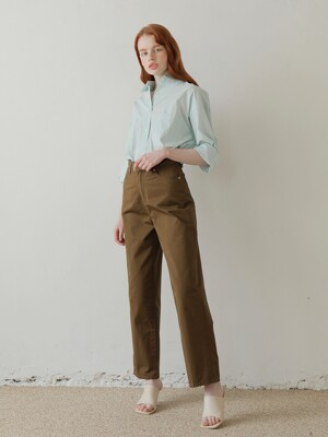 20SS COTTON WIDE PANTS /BROWN