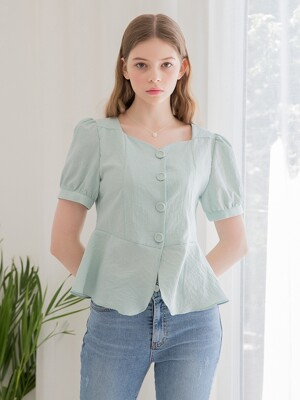 Hound Check Flare Blouse Mint
