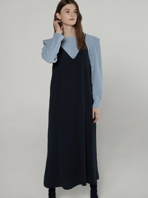 Back point layered dress - Navy
