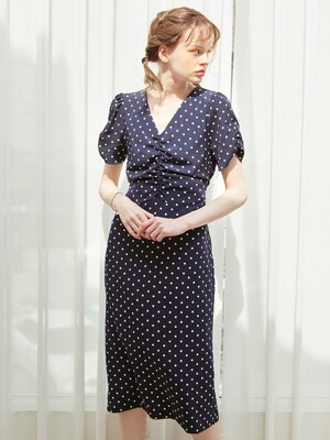 Midi Shirring Dot Dress