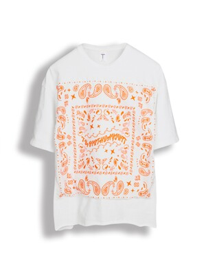VINTAGE BANDANA T-SHIRT [WHITE X ORANGE]