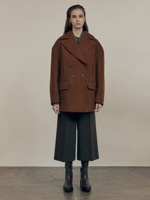 20FW DOUBLE PEACOAT - BROWN