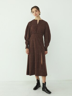 Dress Muf Slit Wine Brown