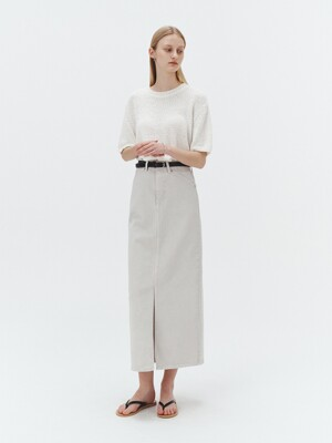 FRONT SLIT H-LINE LONG SKIRT LIGHT GREIGE_UDSK1E211G1