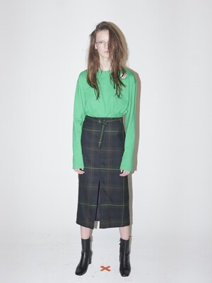 BELTED SLIT SKIRT-GREEN CHECK
