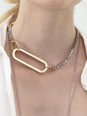 Big Shape Chain and Ring Necklace