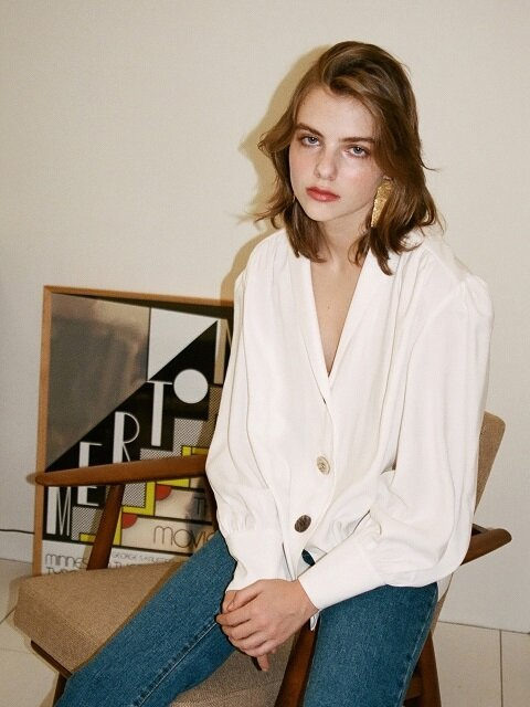 SHAWL COLLAR BLOUSE IVORY