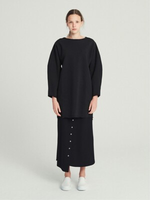 COTTON FLEECE SWEATSHIRT DRESS (BLACK)