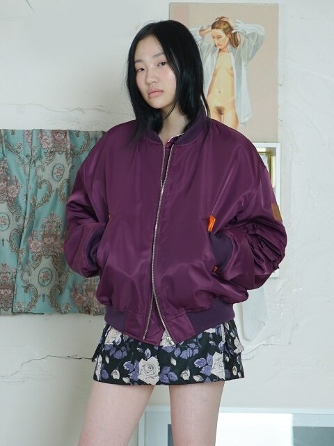 LEATHER PATCH MA-1 JUMPER [PURPLE]