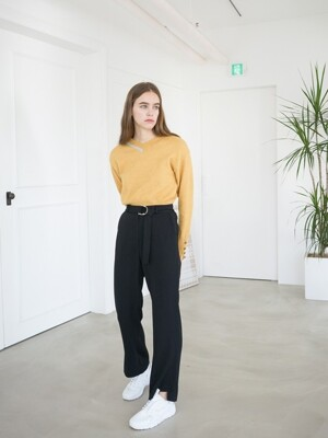 SIDE TIM BELT PANTS BLACK