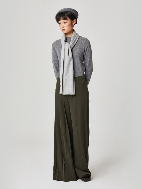 100% Cashmere Muffler Light Grey