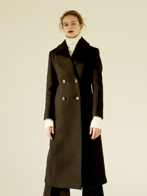 18FW DOUBLE LONG COAT BLACK