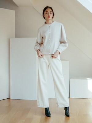 WIDE FIT COTTON PANTS IVORY