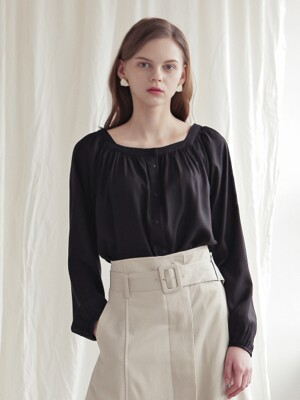 SQUARE NECK SHIRRING BLOUSE_BLACK