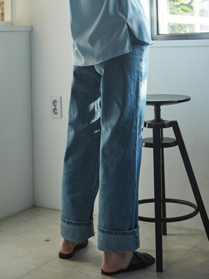 DENIM ROLL-UP WIDE PANTS BLUE