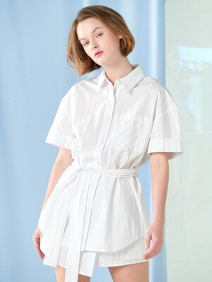 shoulder button belted shirt White