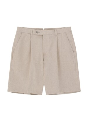 Linen One tuck short pants (Sand Melange )