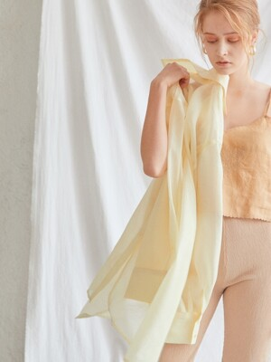 SEE-THROUGH BOX LONG SHIRT[LIGHT YELLOW]