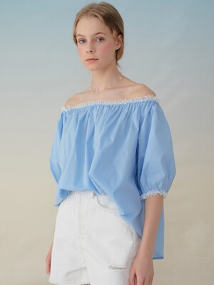 monts939 lace off-shoulder blouse (sky blue)