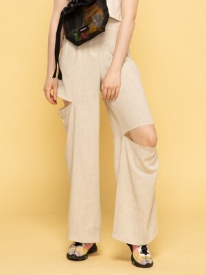 SLIT WIDE PANTS (BEIGE)