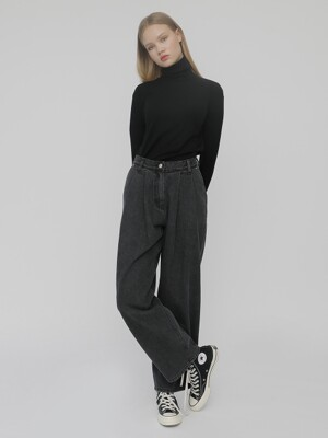 [UNISEX]R TWO TUCK LOOSE FIT DENIM PANTS_BLACK