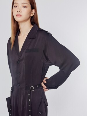 Black Belt Detail Jumpsuit