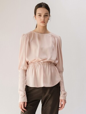 19FW GATHERED-WAIST SATIN BLOUSE (LIGHT PINK)