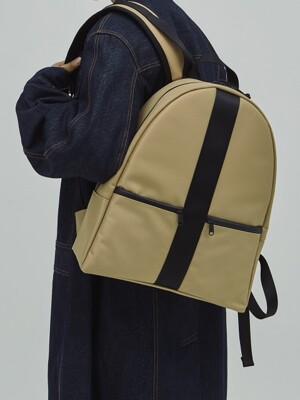 AIR CUSHIONED GOLD BEIGE TWILL POLYESTER BACK PACK