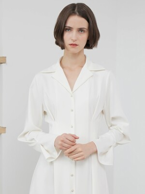 PEARL BUTTON TUCK ONE-PIECE_IVORY