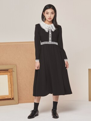 LACE PEARL LONG DRESS BLACK