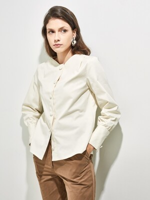 DANTE NO COLLAR BLOUSE _ CREAM