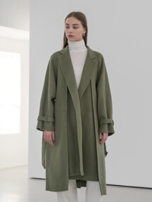 Premium handmade wool double layer belted coat in olive green