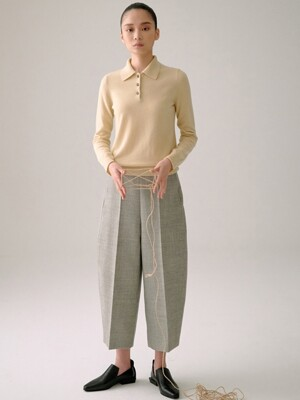 GREY WOOL ROUNDED PANTS