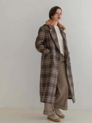 Fur Collar Wool Check Double Long Coat