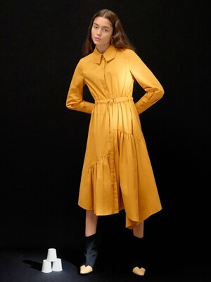 Unbalance Shirt Oneinpiece in Yellow (WS9Y71MG1E)