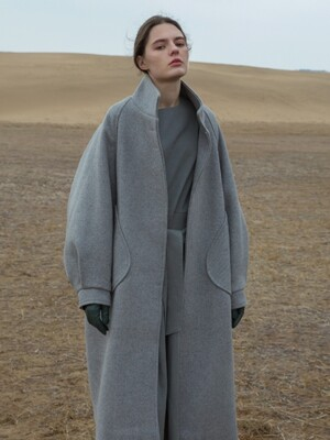 OVER DROP WOOL COAT - MELANGE GREY