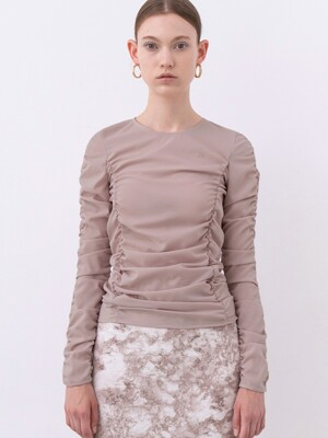RUCHED LONG-SLEEVE TOP (LIGHT PINK)