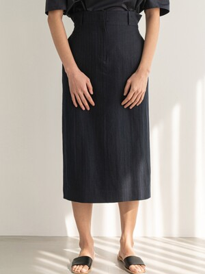 DARK NAVY COTTON LINEN H LINE SKIRT