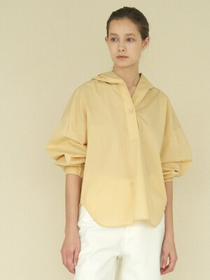 bubble sleeve hoody blouse (yellow)