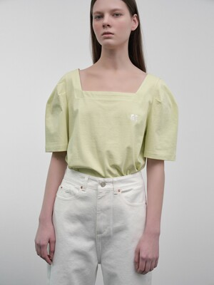 Square-Neck Puff-Sleeved T-Shirt (mint)