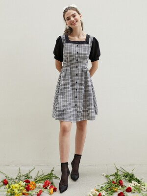 square neckline check dress BK