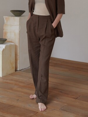 WHERE LINEN PANTS (CHOCO BROWN)