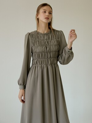 Romantic Shirring Long Dress(Khaki)